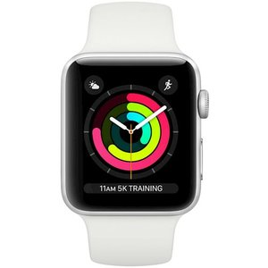 фото Смарт-часы APPLE Watch Series 3 GPS 38mm Silver Aluminium Case with White Sport Band (MTEY2FS/A)